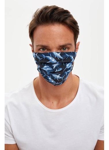 DeFacto Köpek Balığı Baskılı Yıkanabilir Maske Lacivert